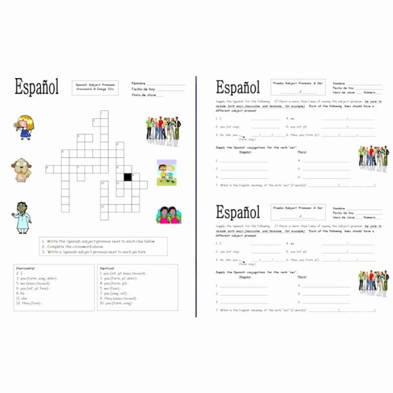 Subject Pronouns Spanish Worksheet Luxury 56 Spanish Subject Pronouns Worksheet Gallery for Spanish