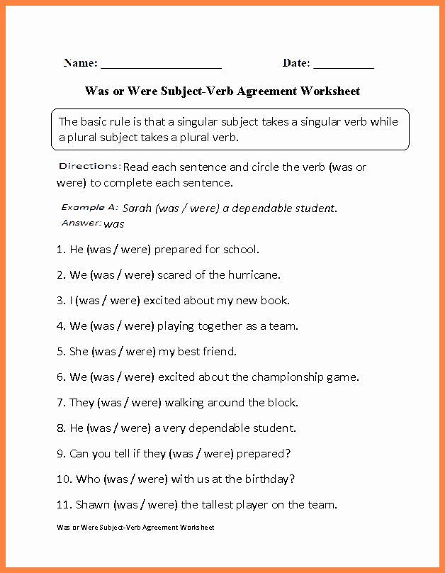 Subject Verb Agreement Worksheet Awesome 5 Subject Verb Agreement Worksheets for Kids