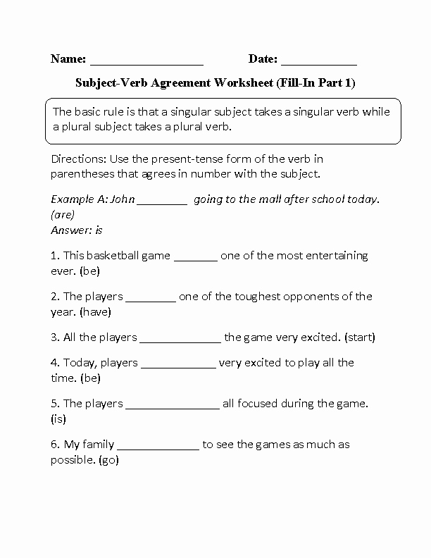 Subject Verb Agreement Worksheet Awesome Fill In Subject Verb Agreement Worksheet