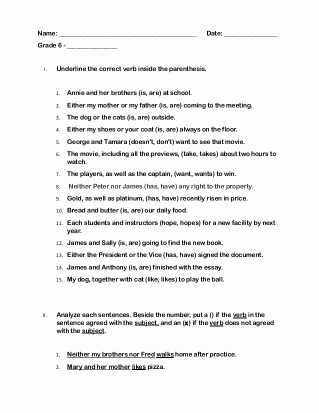 Subject Verb Agreement Worksheet Awesome Quiz Grade 6 Subject Verb Agreement