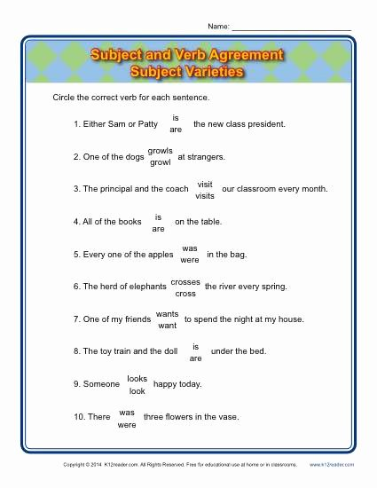 Subject Verb Agreement Worksheet Awesome Subject Varieties