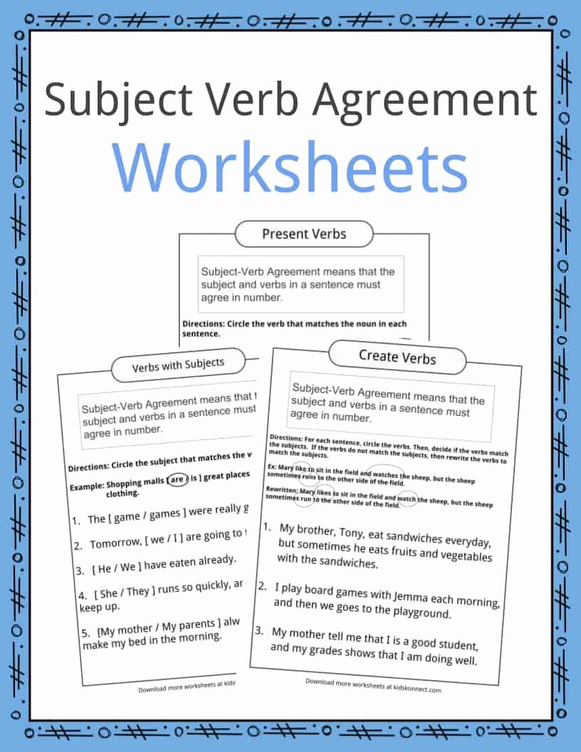Subject Verb Agreement Worksheet Awesome Subject Verb Agreement Worksheets