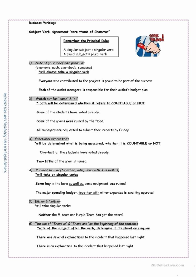 Subject Verb Agreement Worksheet Beautiful Subject and Verb Agreement Worksheet Free Esl Printable