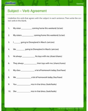 Subject Verb Agreement Worksheet Beautiful Subject Verb Agreement – Fun & Printable 3rd Grade Jumpstart