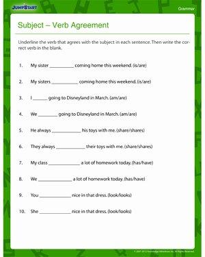 Subject Verb Agreement Worksheet Beautiful Subject Verb Agreement – Fun & Printable 3rd Grade Jumpstart