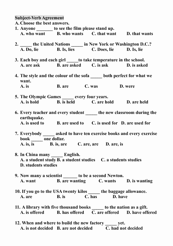 Subject Verb Agreement Worksheet Beautiful Subject Verb Agreement