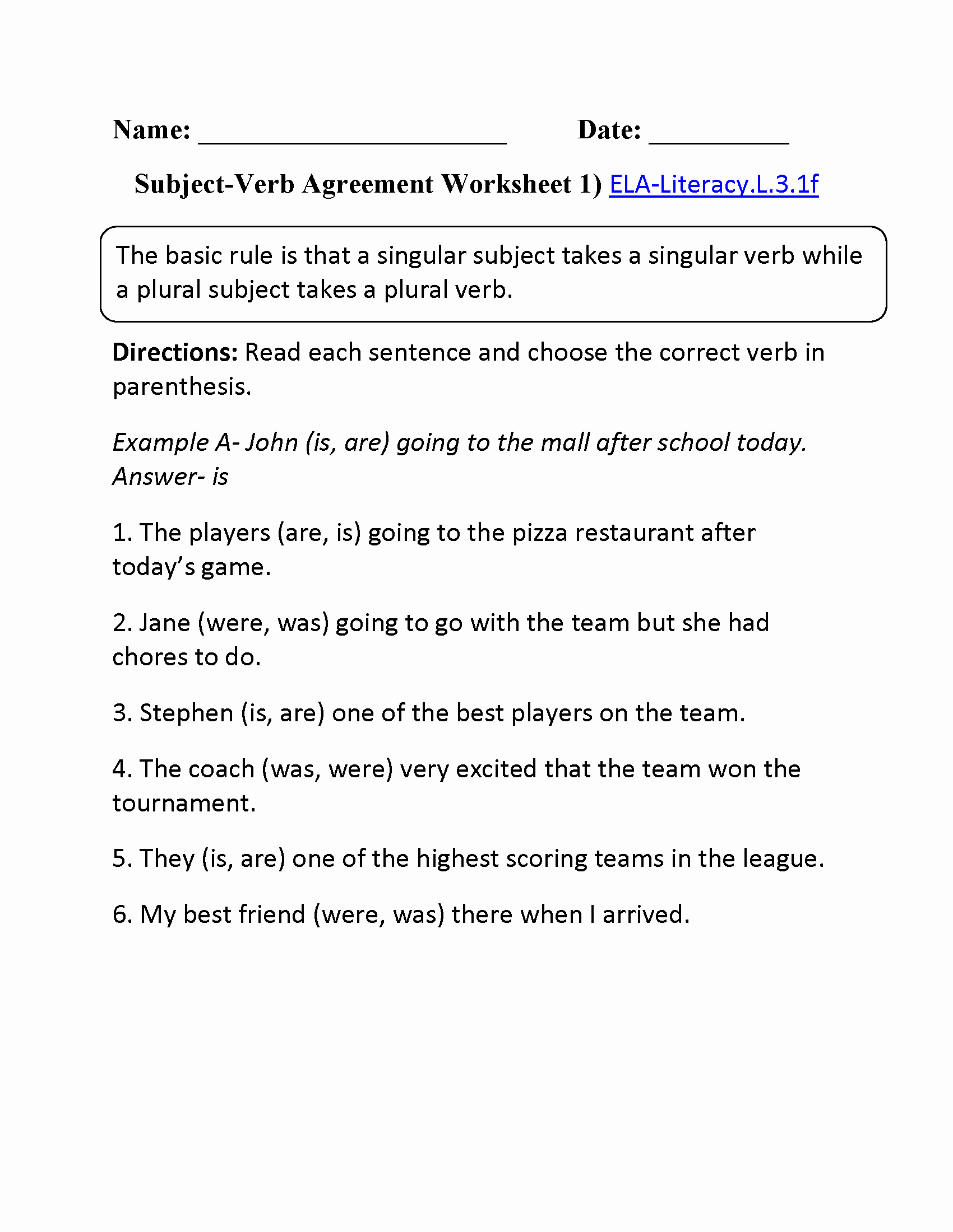Subject Verb Agreement Worksheet Beautiful Subject Verb Agreement Worksheet 1 Ela Literacy L 3 1f