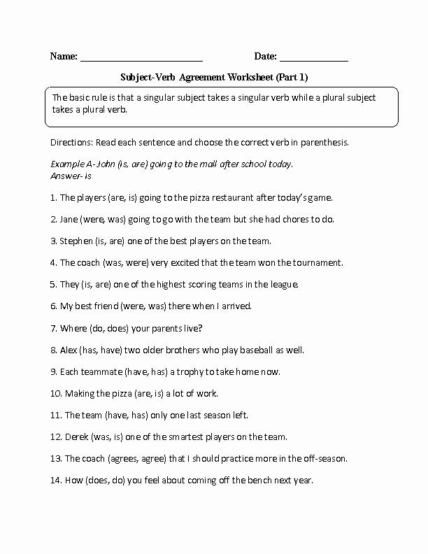 Subject Verb Agreement Worksheet Beautiful Verbs Worksheets