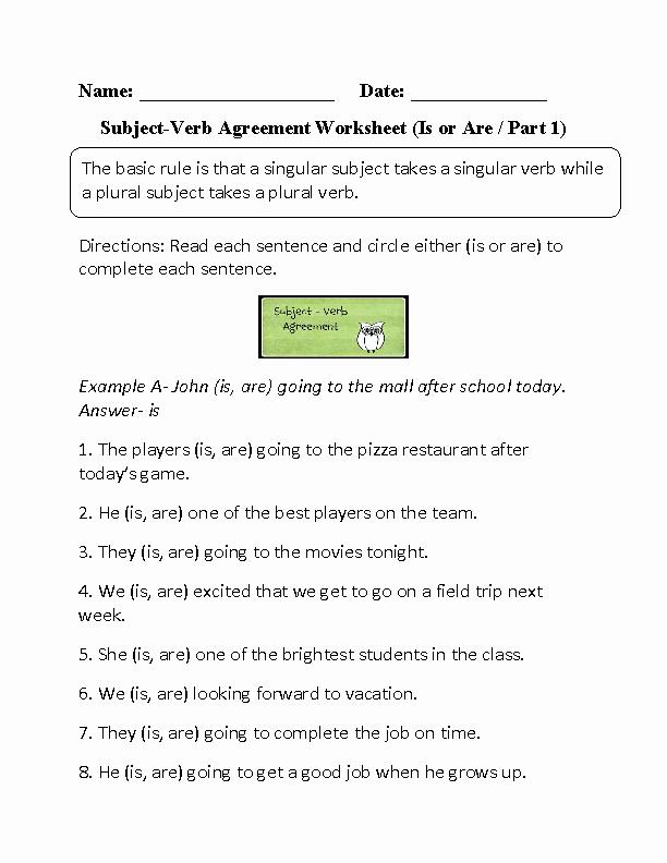 Subject Verb Agreement Worksheet Fresh Subject Verb Agreement Worksheets