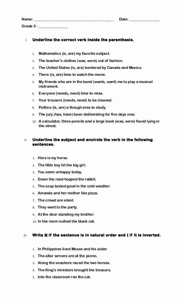 Subject Verb Agreement Worksheet Inspirational Quiz Grade 5 Subject Verb Agreement
