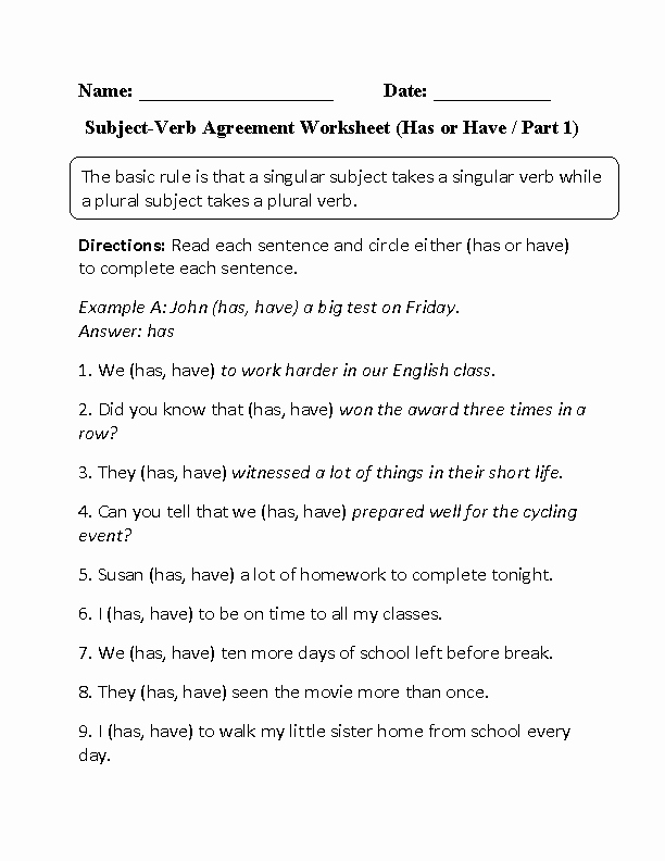 Subject Verb Agreement Worksheet Inspirational Verbs Worksheets