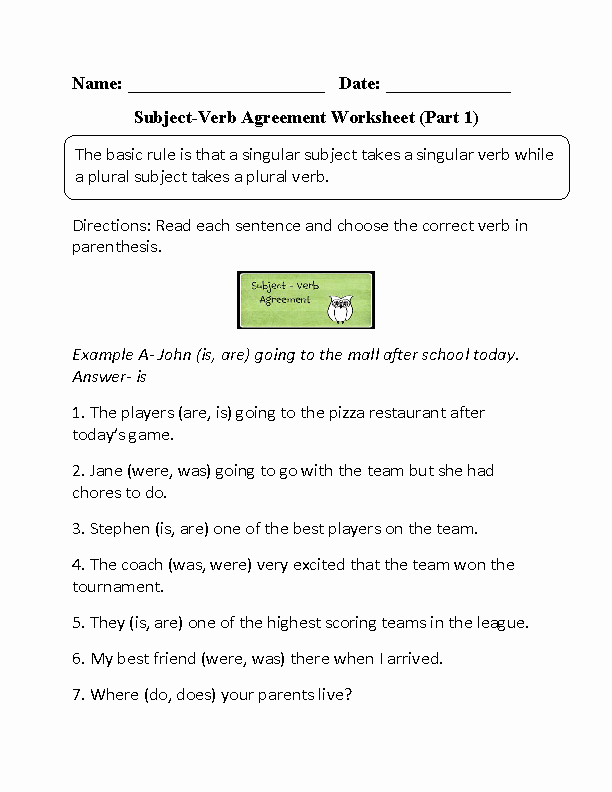 Subject Verb Agreement Worksheet Luxury Englishlinx Verbs Worksheets