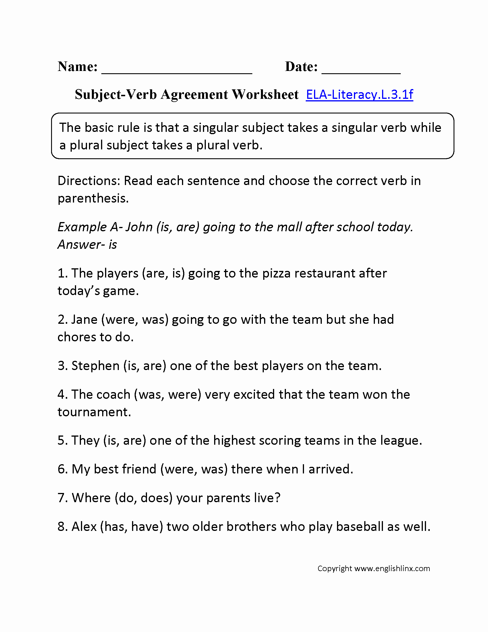 Subject Verb Agreement Worksheet New Subject Verb Agreement Worksheet 2 L 3 1