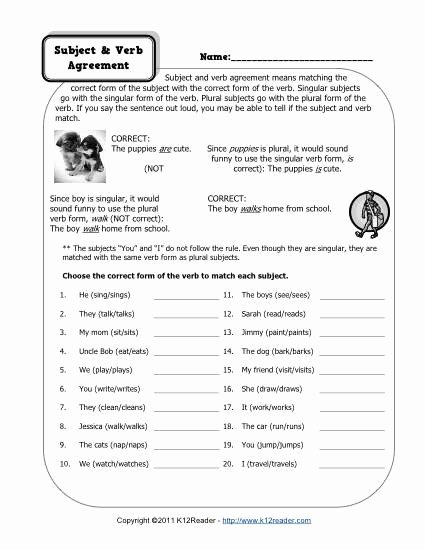 Subject Verb Agreement Worksheet Unique Subject and Verb Agreement Worksheets