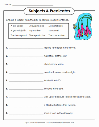 Subjects and Predicates Worksheet Awesome Subject and Predicate Worksheets