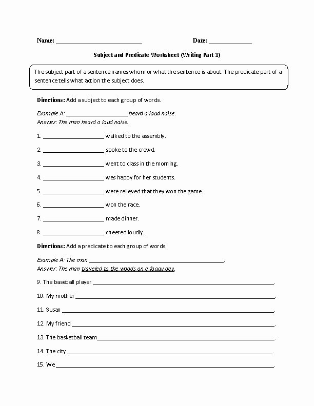 Subjects and Predicates Worksheet Best Of Pin by Stephen tom On Englishlinx Board