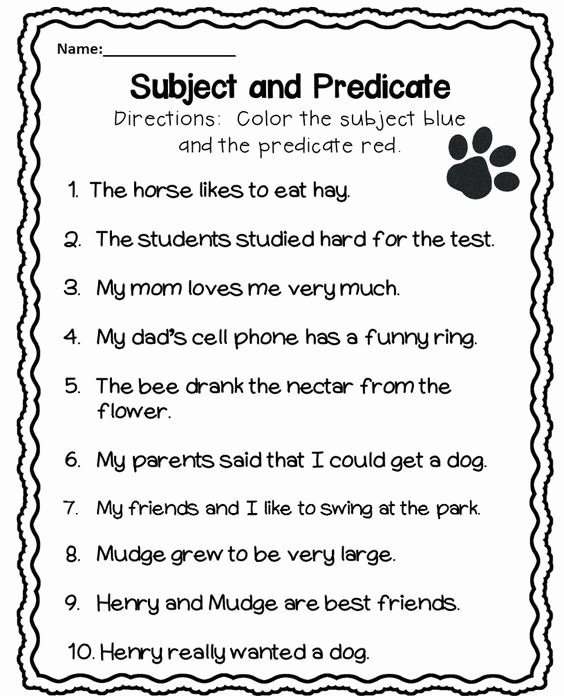 Subjects and Predicates Worksheet Elegant Subject and Predicate Worksheet …