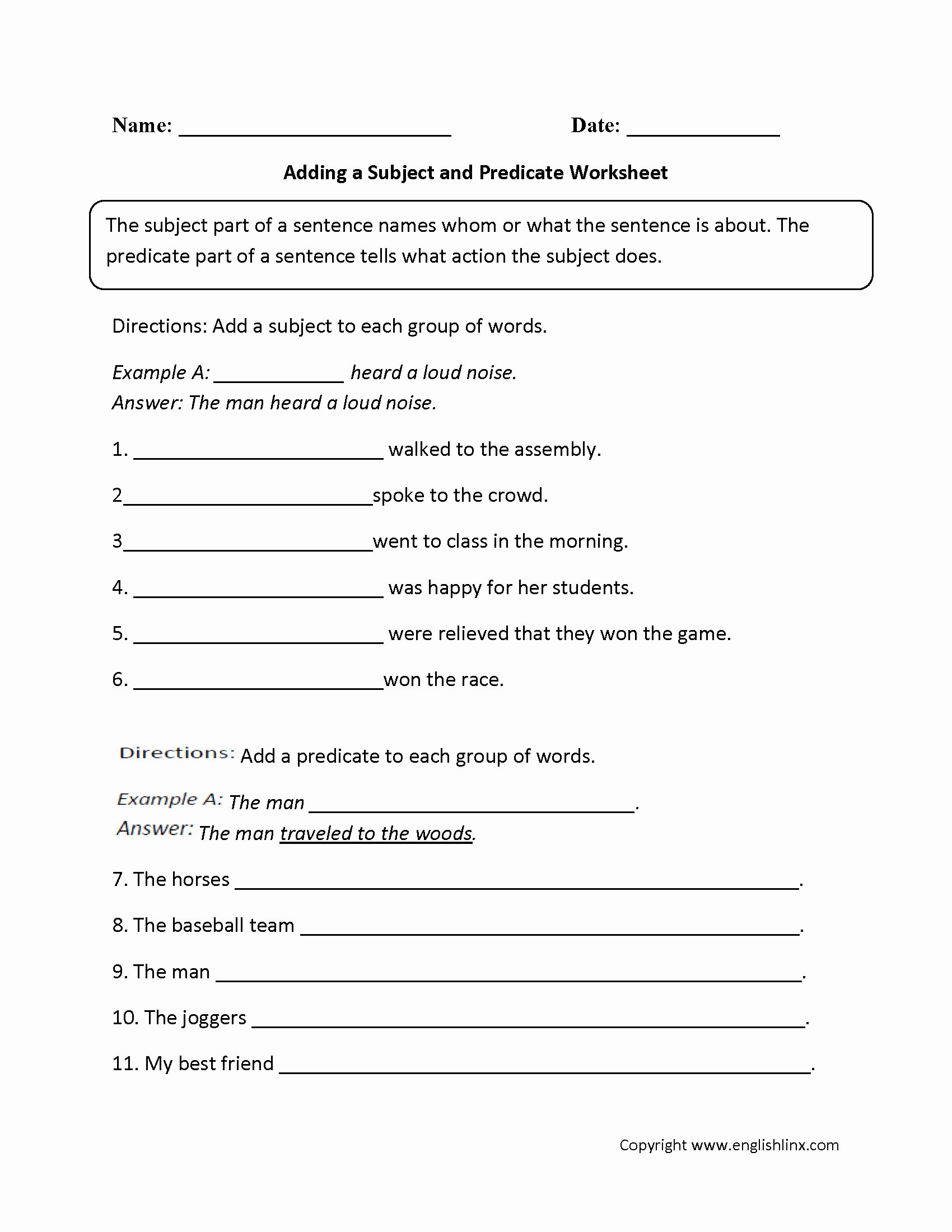 Subjects and Predicates Worksheet Fresh Adding A Subject and Predicate Worksheet