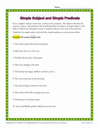 Subjects and Predicates Worksheet Inspirational Simple Subject and Simple Predicate