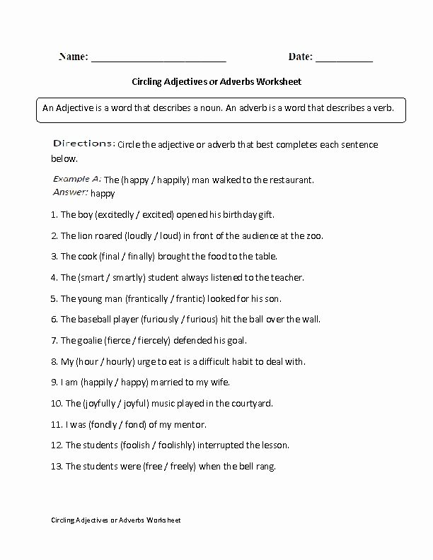 Subjects and Predicates Worksheet New Englishlinx Adjectives Worksheets Kids