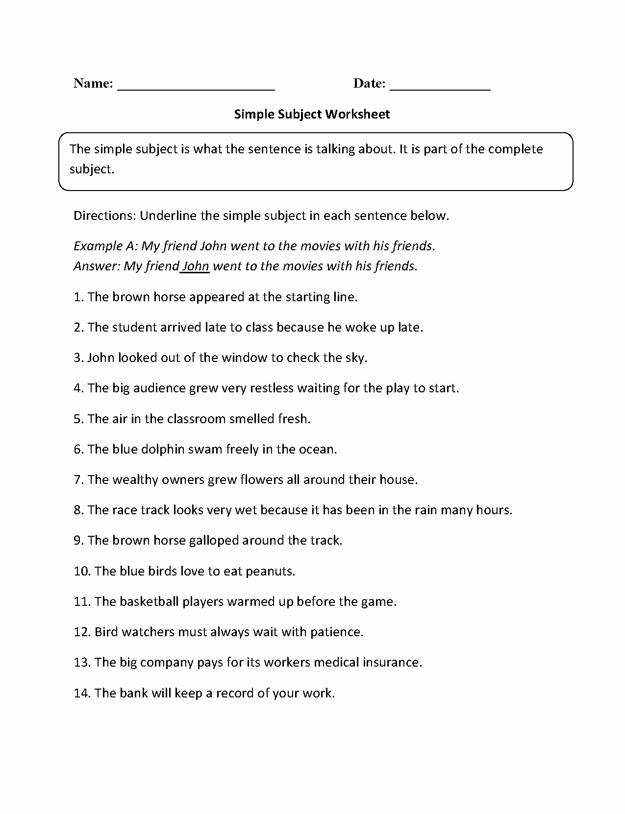 Subjects and Predicates Worksheet New Simple Subject Worksheet