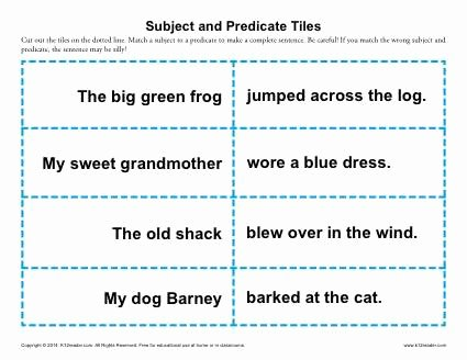 Subjects and Predicates Worksheet New Subject and Predicate Tiles