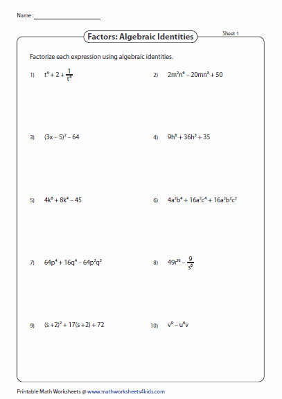 Substitution Method Worksheet Answer Key Awesome Algebraic Identities Substitution Method