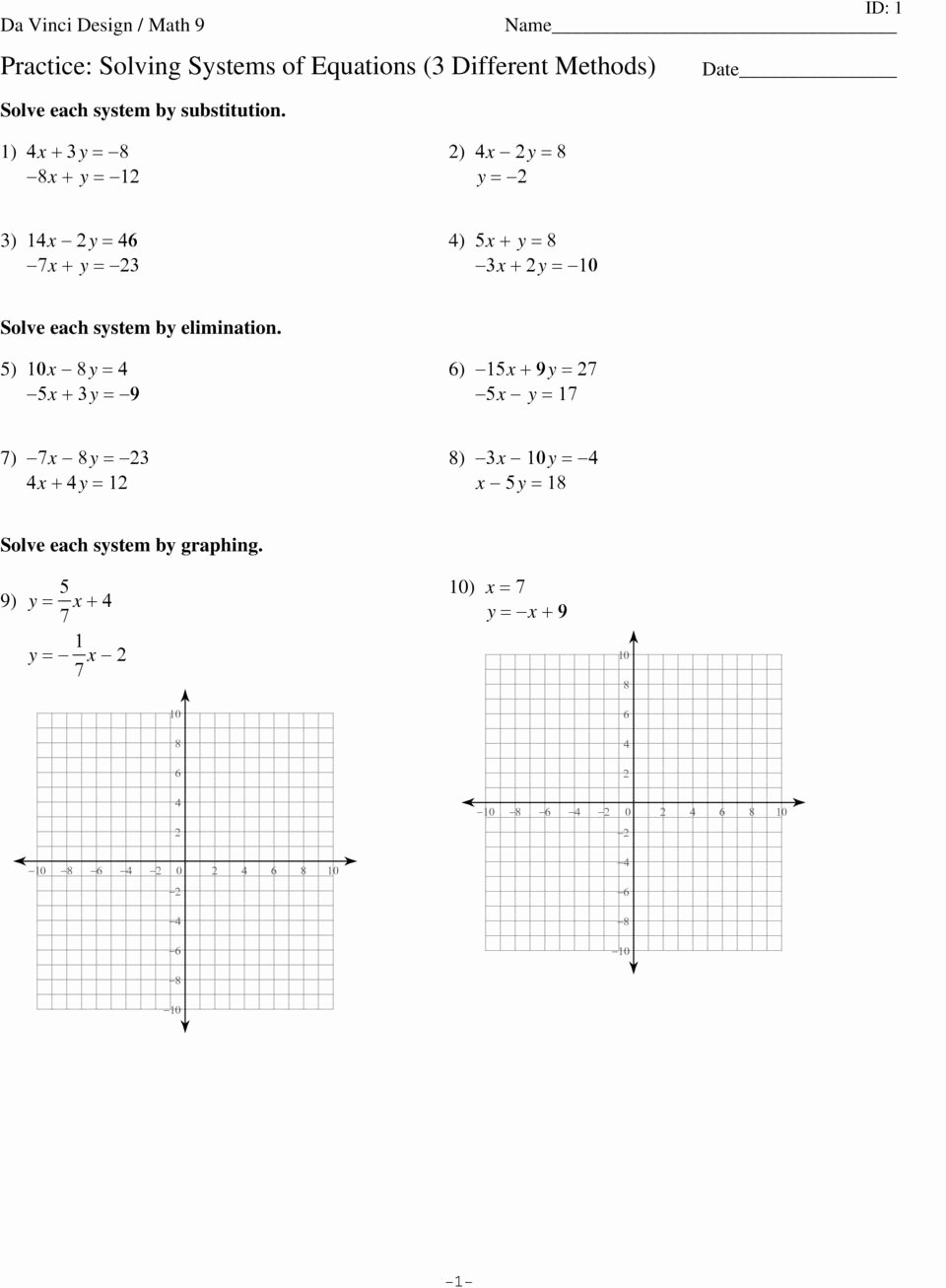 Substitution Method Worksheet Answer Key Fresh Lesson 8 Homework Practice solve Systems Equations