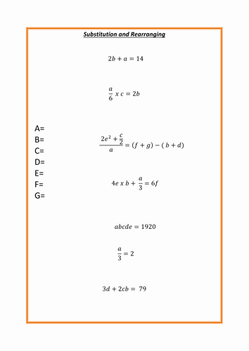 Substitution Method Worksheet Answer Key Fresh Substitution Worksheet by Mrbartonmaths Teaching