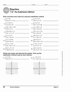 Substitution Method Worksheet Answer Key Luxury 7 2 the Substitution Method Worksheet for 9th Higher Ed