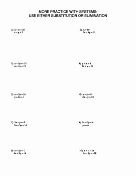 Substitution Method Worksheet Answer Key New Substitution or Elimination Worksheet by Family 2 Family