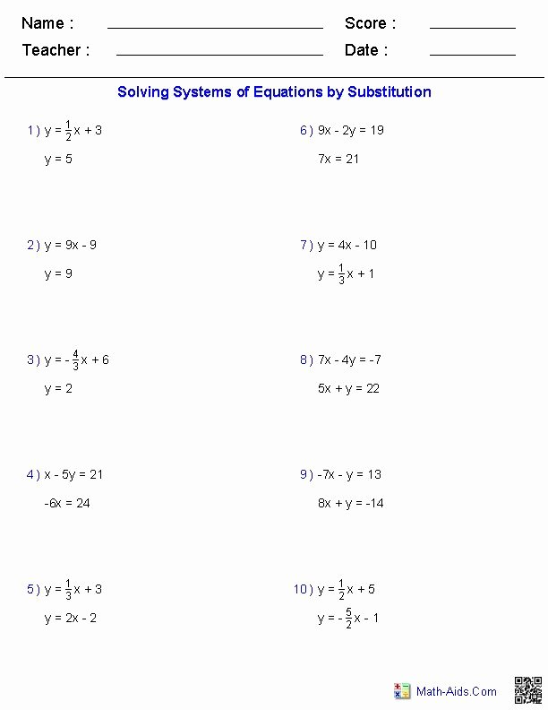 Substitution Method Worksheet Answer Key Unique solving Two Variable Systems Of Equations Worksheets