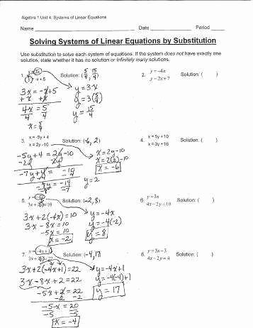 Substitution Method Worksheet Answers Beautiful solving Systems Equations by Substitution Worksheet