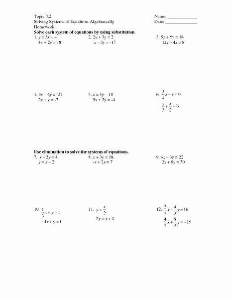 Substitution Method Worksheet Answers Beautiful Systems Equations Substitution Worksheet