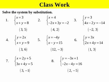 Holt Algebra 62A Solving Systems by Substitution isolated PPT Worksheet