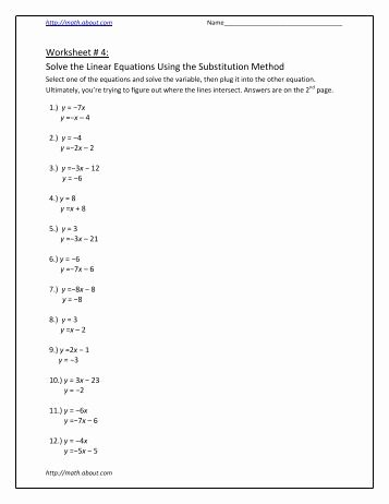 Substitution Method Worksheet Answers Fresh Section 12 1 Systems Of Linear Equations Substitution and