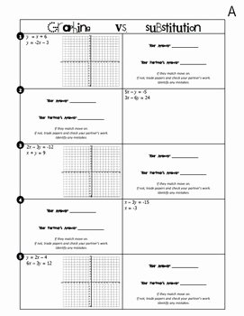 Substitution Method Worksheet Answers Inspirational Systems Of Equations Graphing Vs Substitution Partner