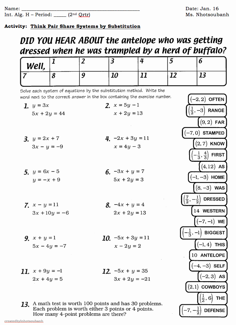Substitution Method Worksheet Answers Lovely Substitution as Well System Equations Substitution