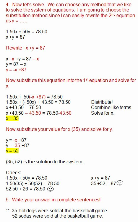 Substitution Method Worksheet Answers New Substitution Method Worksheet