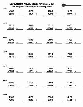 Subtracting Across Zero Worksheet Beautiful Subtracting Across Zeros Thousands Practice Sheet