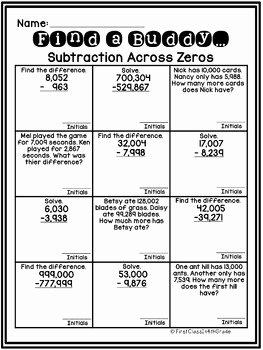 Subtracting Across Zero Worksheet Elegant 4th Grade Mon Core Subtraction Across Zeros Find A