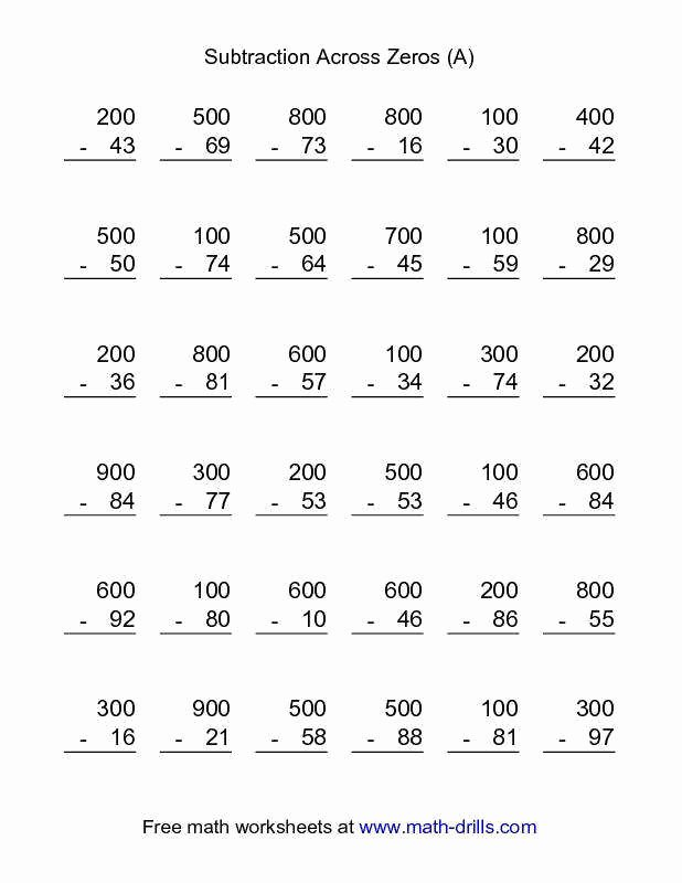 Subtracting Across Zero Worksheet Elegant Subtracting Across Zeros Worksheet