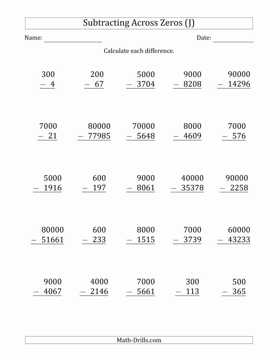 Subtracting Across Zero Worksheet Fresh Subtracting Across Zeros From Multiples Of 100 1000 and