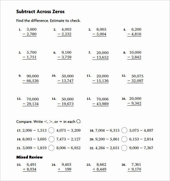 Subtracting Across Zero Worksheet Inspirational Sample Subtraction Across Zeros Worksheet 10 Documents