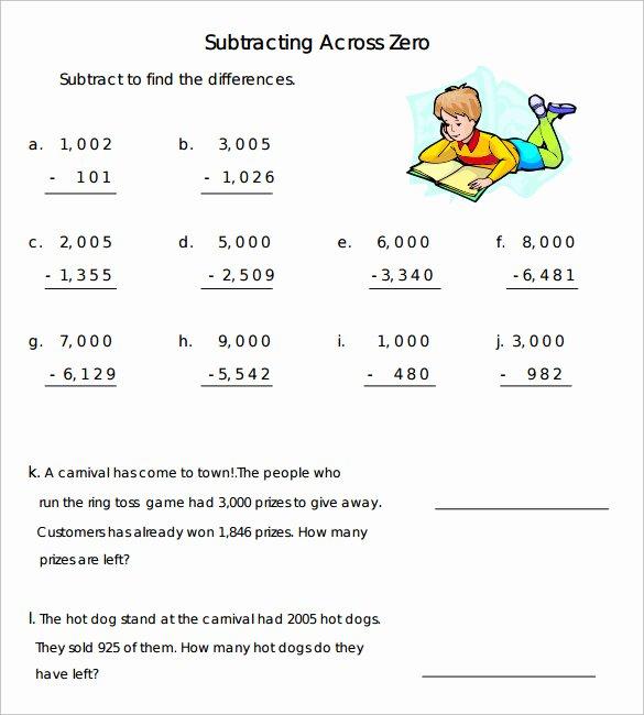 Subtracting Across Zero Worksheet Luxury Sample Subtraction Across Zeros Worksheet 10 Documents