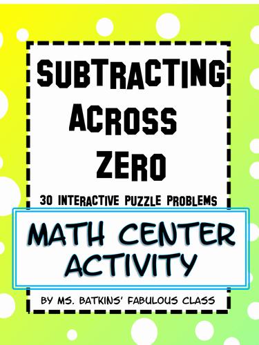 Subtracting Across Zero Worksheet Luxury Subtracting Across Zero Math Station Activity by
