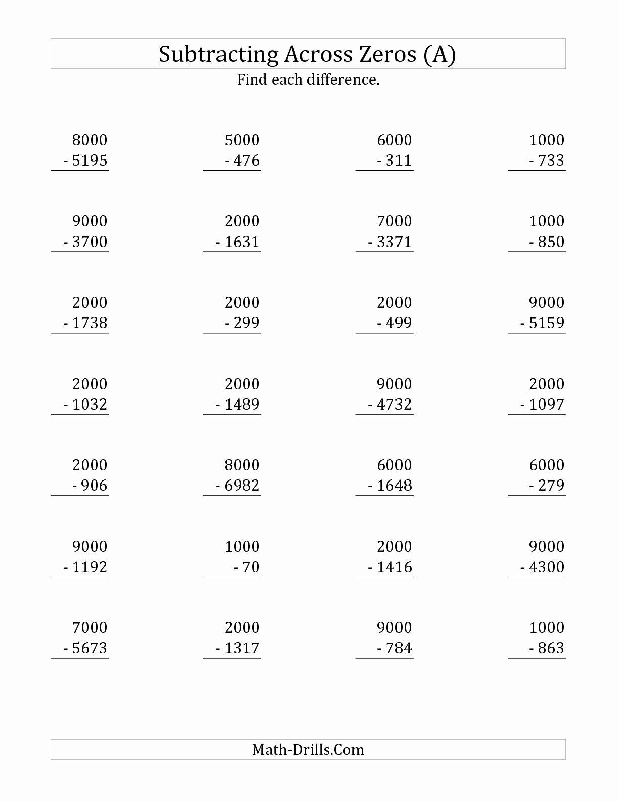 Subtracting Across Zero Worksheet Unique the Subtracting Across Zeros From Multiples Of 1000 A
