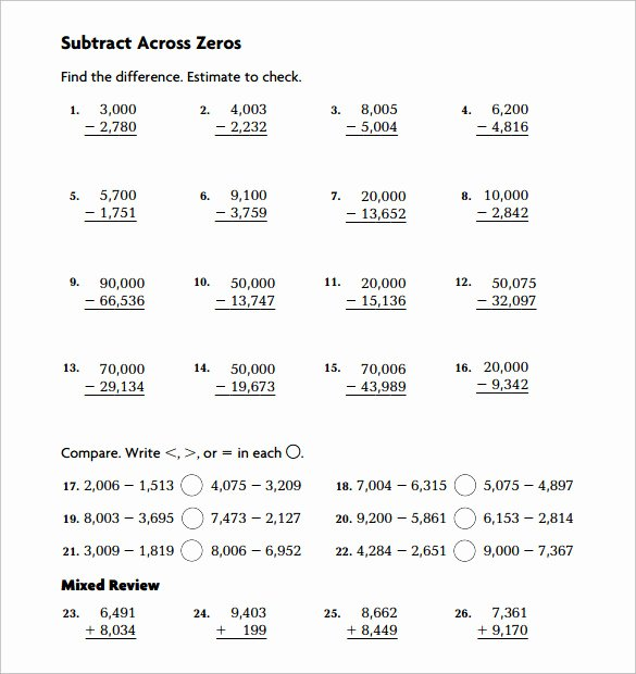 Subtracting Across Zeros Worksheet Beautiful Sample Subtraction Across Zeros Worksheet 10 Documents
