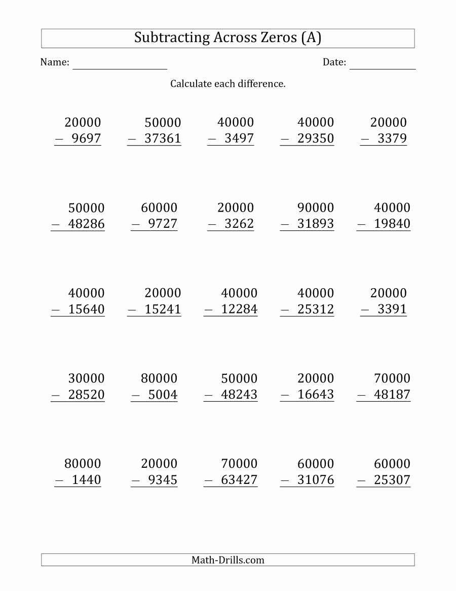 Subtracting Across Zeros Worksheet Beautiful Subtracting Across Zeros From Multiples Of A