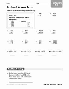 Subtracting Across Zeros Worksheet Best Of Subtract Across Zeroes Homework 5 7 Worksheet for 3rd